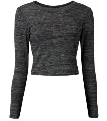 "Stock up on the basics with this classic grey crop top. Try with a check skirt and shoe boots.- Simple long sleeves- Casual fit- Rounded neckline- Soft finish- Model is 5'8""/176cm and wears UK 10/EU 38/US 6"