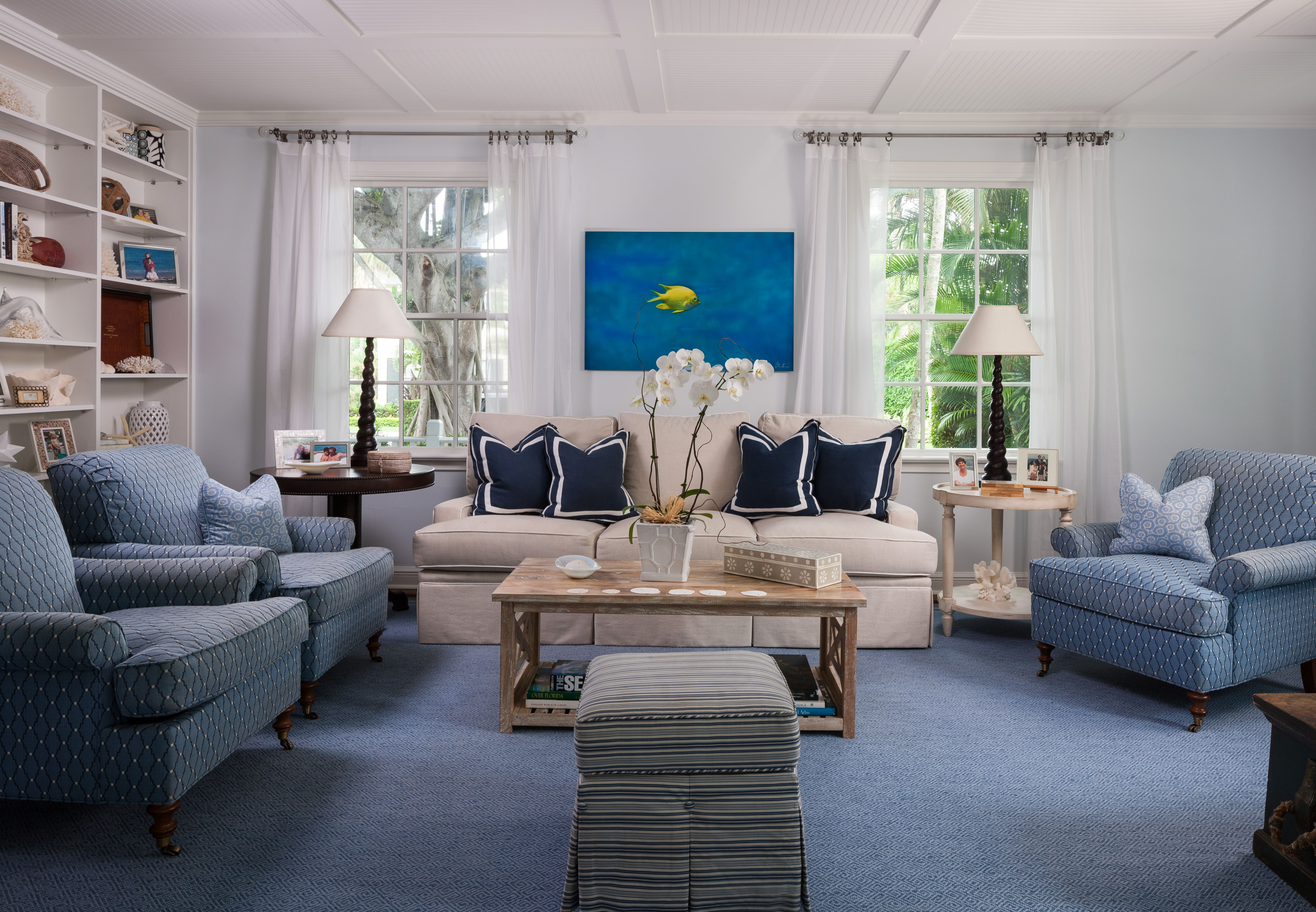beach house coastal living room palm beach blue and white beach theme wood cocktail table. Black Bedroom Furniture Sets. Home Design Ideas