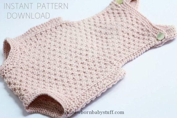 "Baby Knitting Patterns Baby romper Knitting pattern ""Mia""- download pdf- baby knitt..."