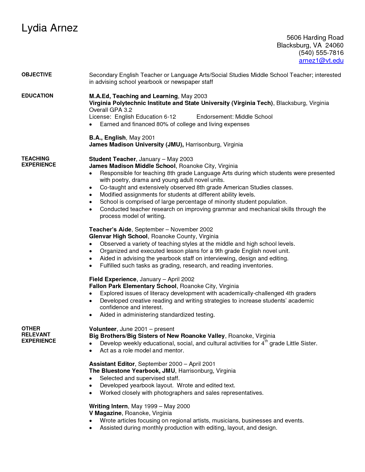 Art Teacher Resume Examples | Sample Secondary Teacher Resume  Virginia Tech Resume