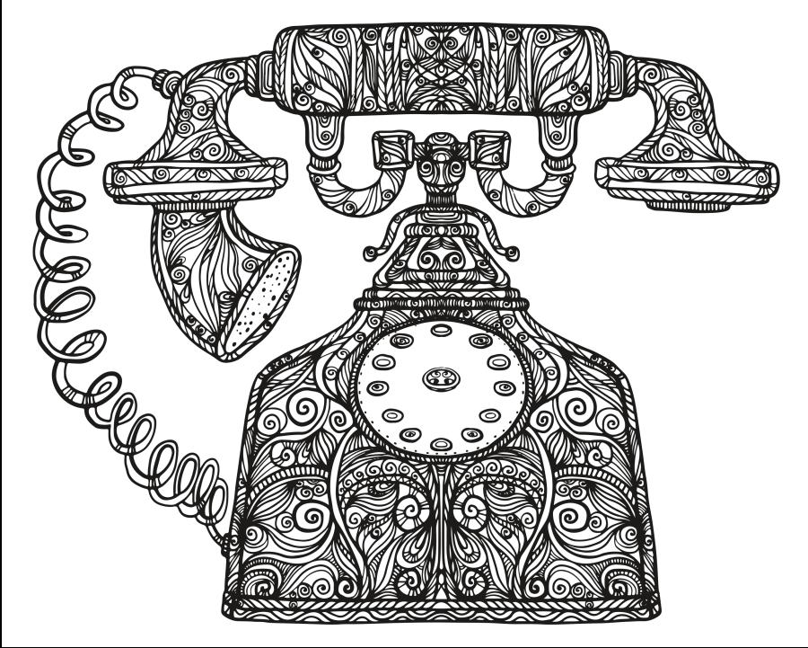 Telephone Zendoodle KeepHappyColorOn