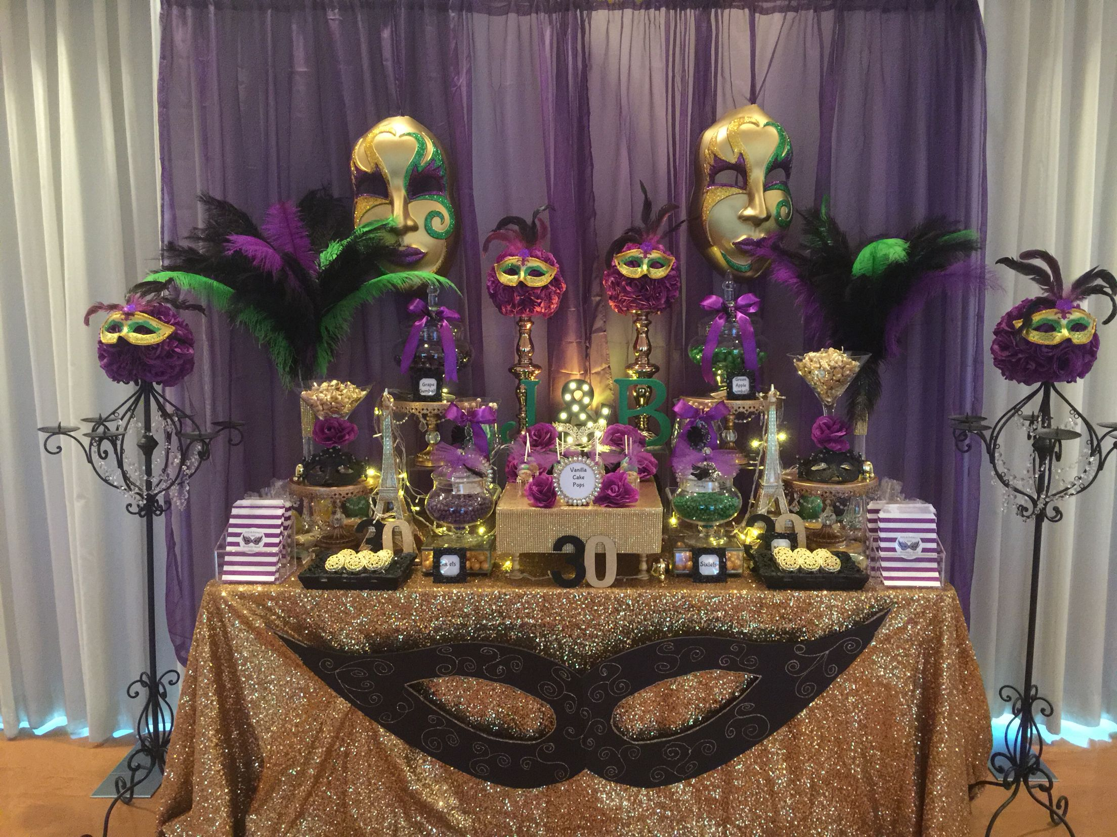 Birthday Masquerade Party Candy Buffet In Purple Green Black And Gold Mardi Gras Party Decorations Mardi Gras Centerpieces Masquerade Party Decorations