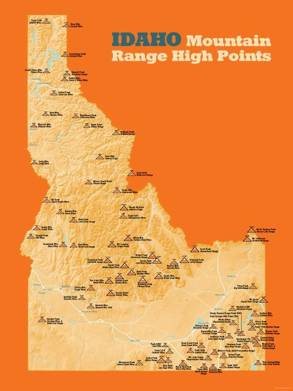 Idaho mountain range high points map 18x24 poster pinterest idaho mountain range high points map 18x24 poster gumiabroncs Images