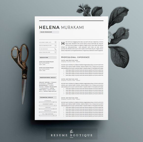 Resume Template 4 pages Simplifier by TheResumeBoutique on - resume template for pages
