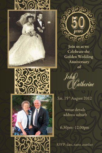 50th Wedding Anniversary Invitations - Golden Marriage ...