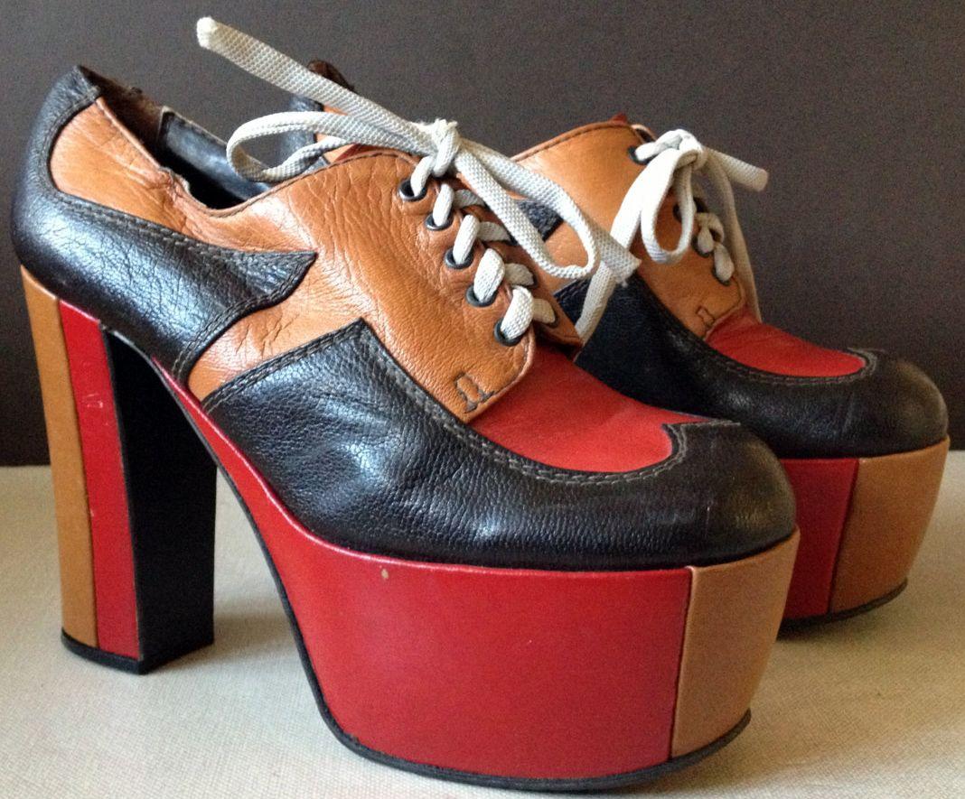 chaussures plateforme lacets cuir camel noir et rouge. Black Bedroom Furniture Sets. Home Design Ideas