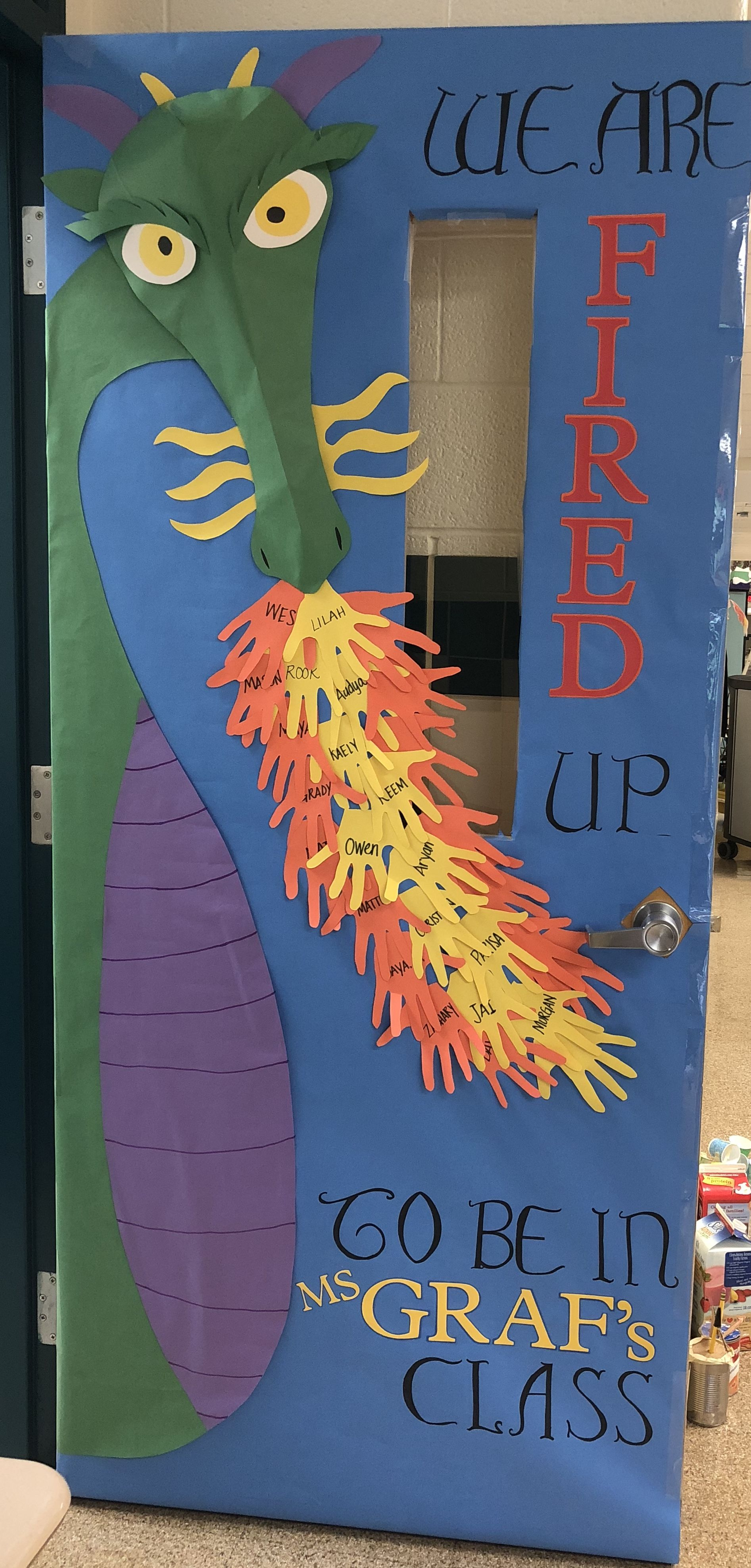 Dragon Teacher Appreciation door. Door decoration. Fired up. #falldoordecorationsclassroom