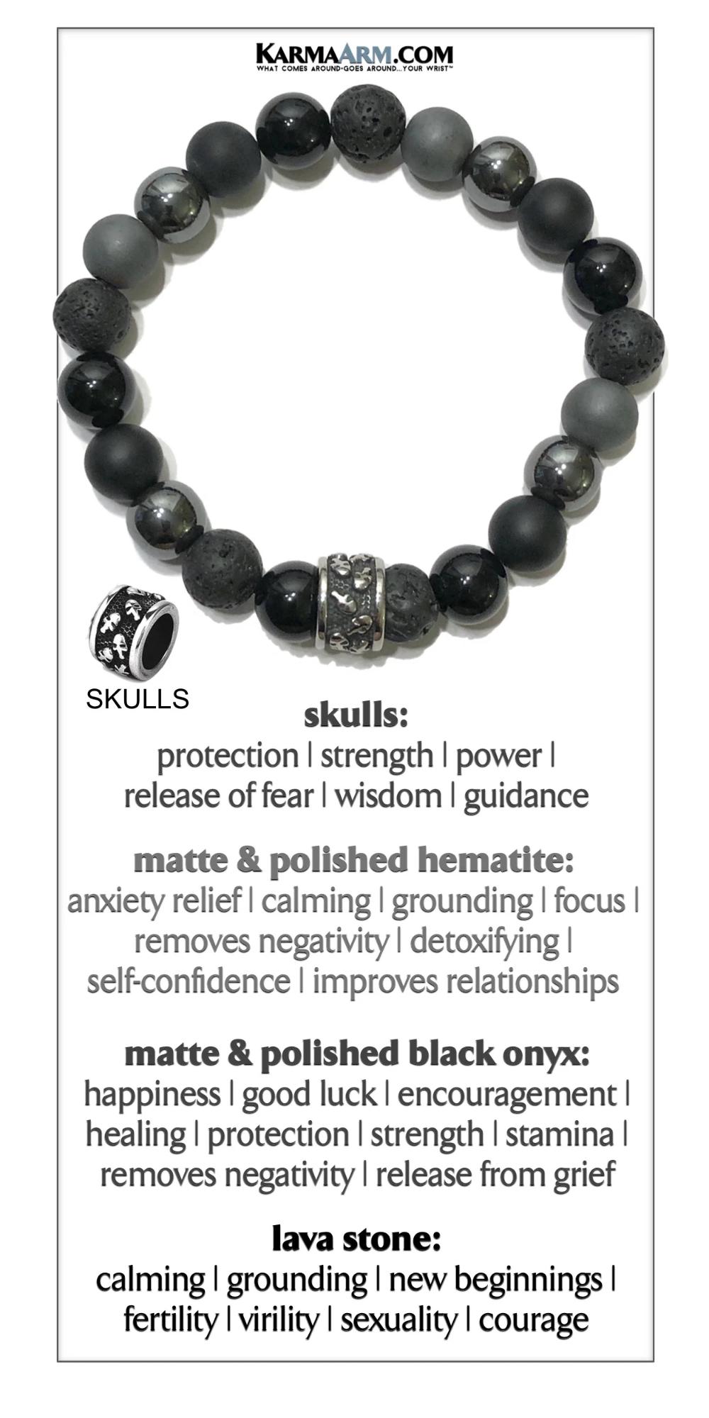 Power: Black Onyx Lava Stone Reiki Healing Yoga Chakra Meditation Boho Gothic Jewelry Hematite KarmaArm Skull Bracelet