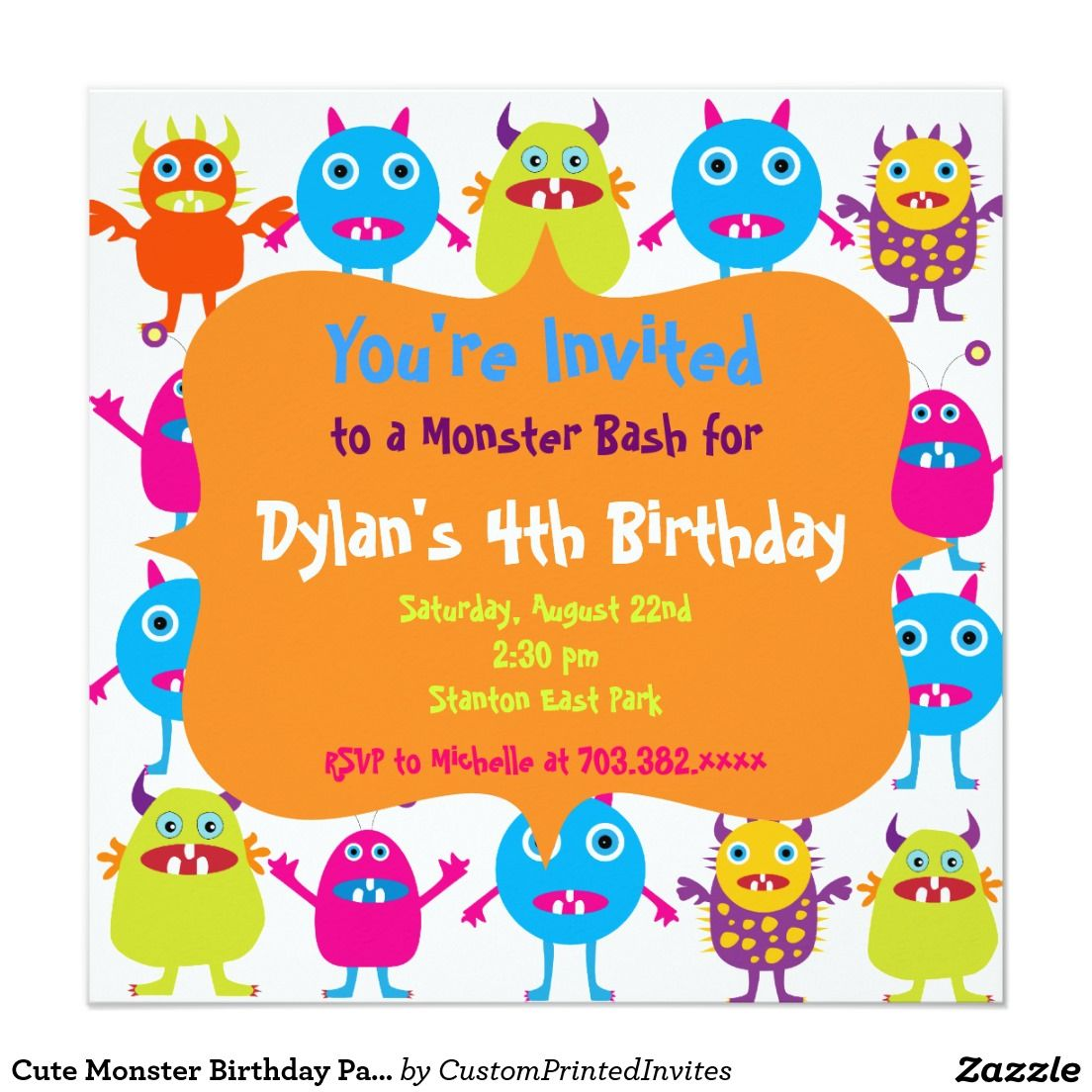 Cute Monster Birthday Party Invitation Templates 5 25 Square Card