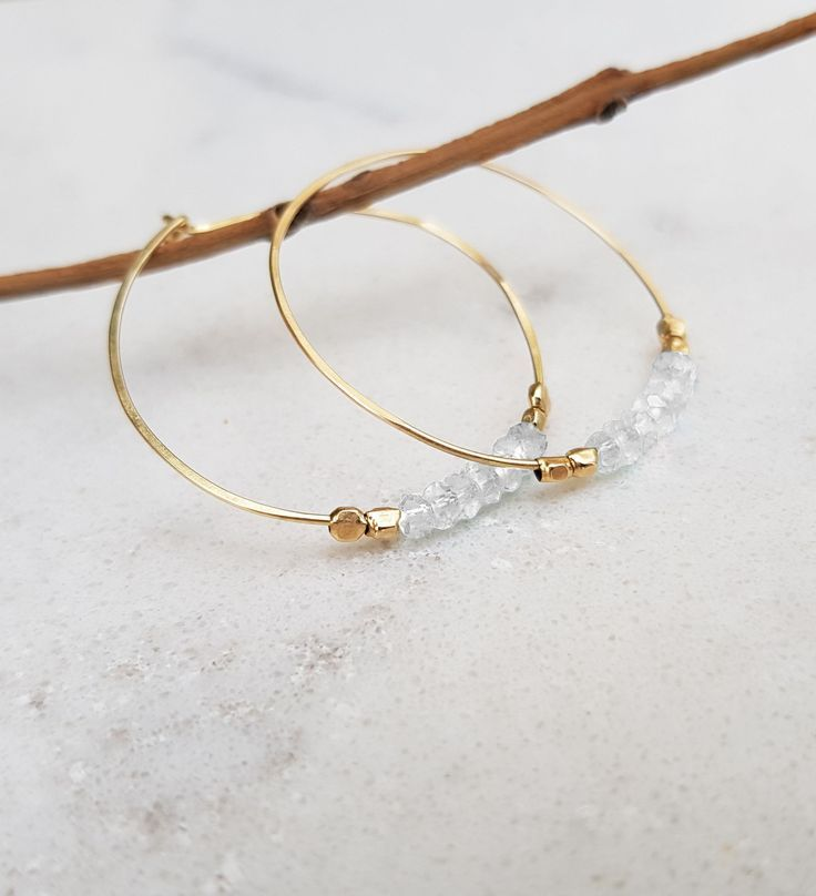 Photo of Moonstone Gold Hoops  Earrings, Bohemian Jewelry, Simple Large Hoops, Hand Crafted Gold Filled Moder