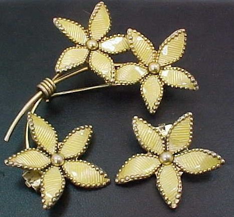 3 Piece Bernard Meldah Norway Sterling Vermeil & Yellow Guilloche Enamel Brooch & Earrings