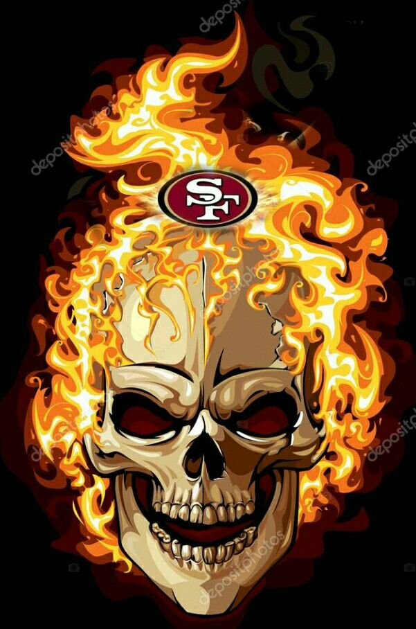 Wallpaper Hd Ghost Rider 49ers Flaming Skull Rep Your Colors Skull Skull Icon