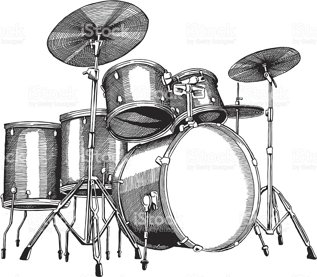 Drum Set Ink Drawing Vector Illustrations