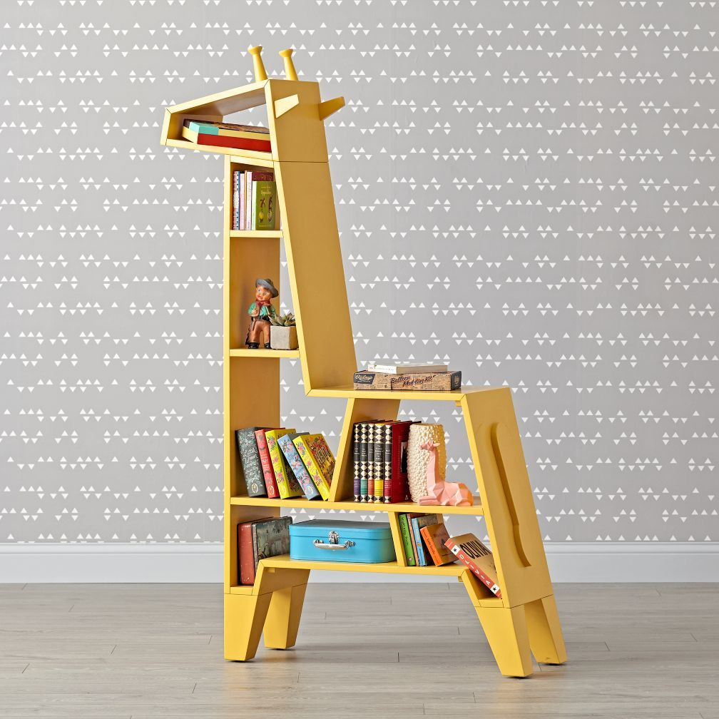 Cute Yellow Giraffe Bookcase To Decorate Your Kids Bedroom