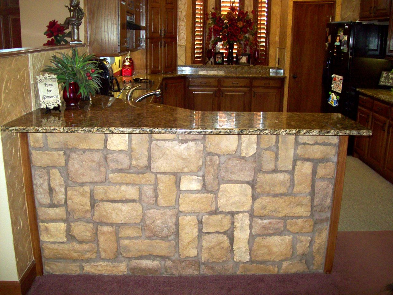 Mobile Home Kitchen Remodel With Stone | kitchen | Pinterest ...