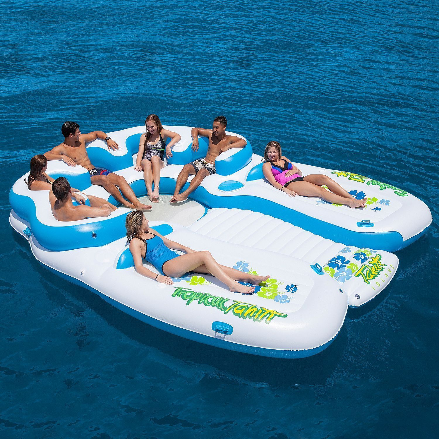 Inflatable Floats And Tubes 79801: Huge Inflatable Floating Island 7 Person  Raft Lake Float Cooler