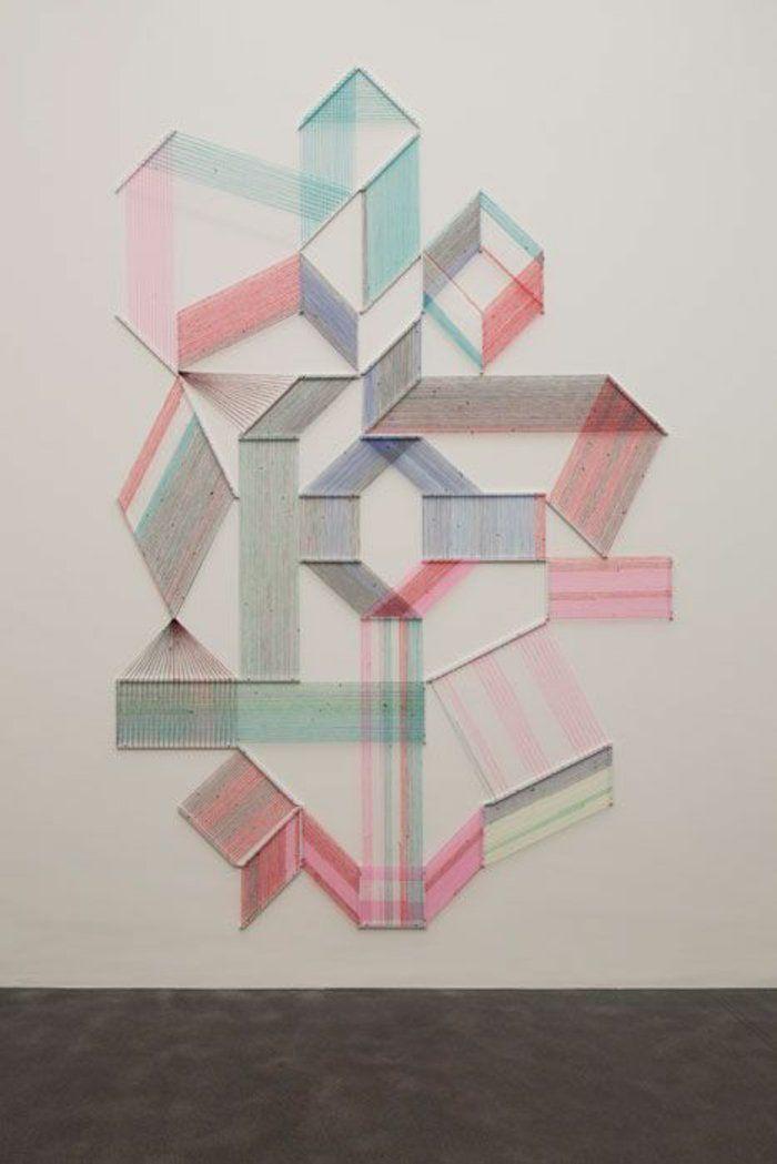 wandideen wanddeko string art wandgestaltung geometrische figuren ...