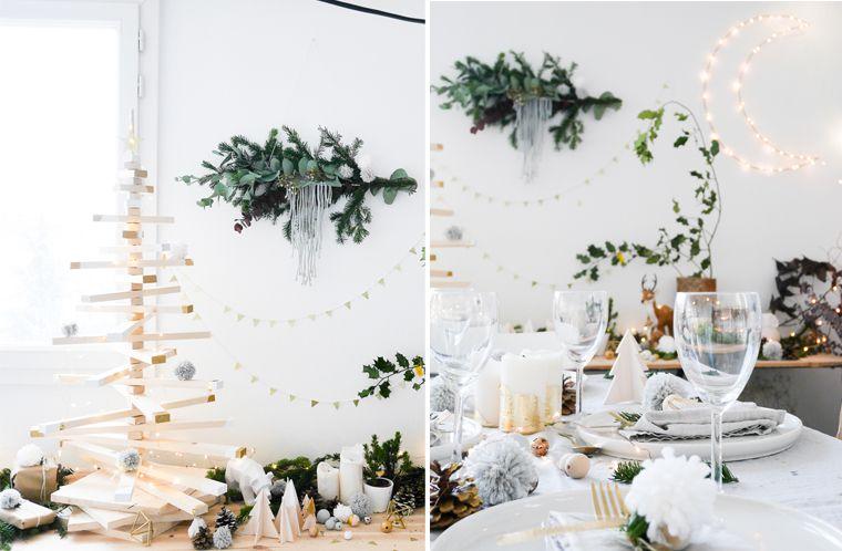 d coration table de no l scandinave blanche avec des. Black Bedroom Furniture Sets. Home Design Ideas