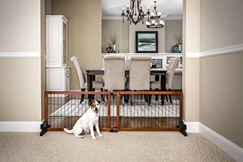 Carlson 60 Inch Wide Adjustable Freestanding Pet Gate Premium Wood Freestanding Pet Gate
