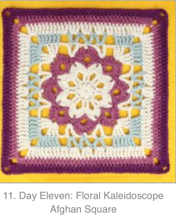 Day 11 Floral Kaleidoscope Square By Gleeful Things Knitting