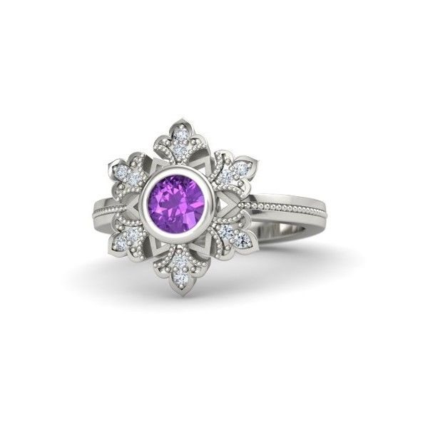 Gemvara Snowflake Ring (1,145 CAD) ❤ liked on Polyvore featuring jewelry, rings, palladium, vintage style rings, hand crafted jewelry, vintage style jewelry, handcrafted jewelry and snowflake rings