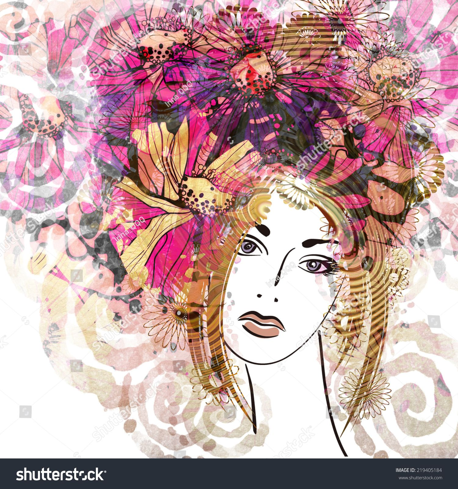 Art Colorful Sketched Beautiful Girl Face With Floral