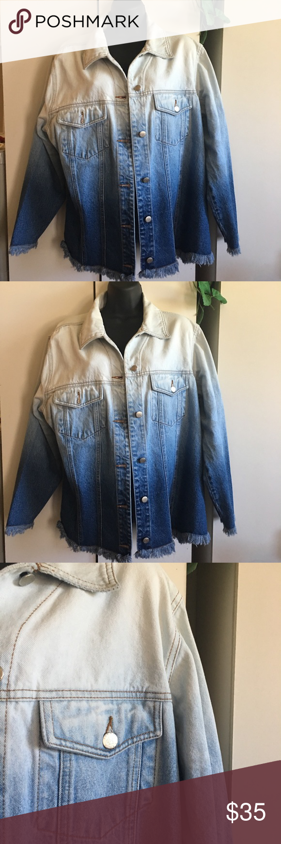 Avenue Blues Jean Jacket Distressed Size 14 16 Wonderful Fade Design Goes From White To Light Blue To D Clothes Design Distressed Jean Jacket Blue Jean Jacket [ 1740 x 580 Pixel ]