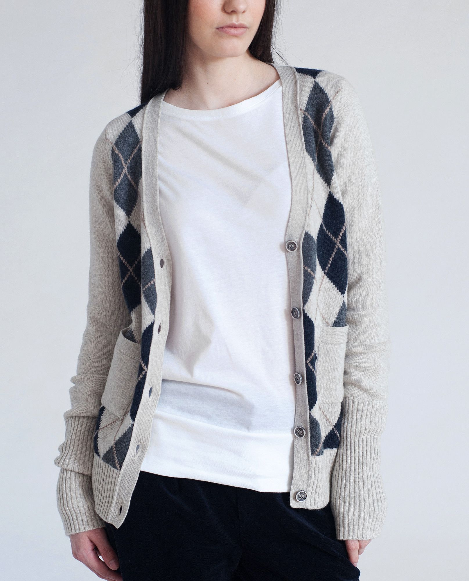 Beaumont Organic - ELSA Wool Patterned Front Cardigan - Light Grey ...