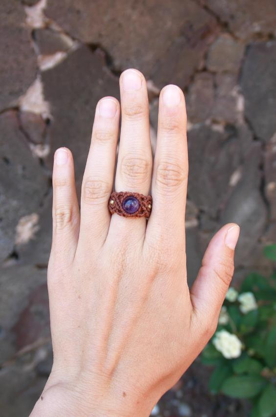 DIY | Ring mit Amethyst Perle selber machen - Makramee