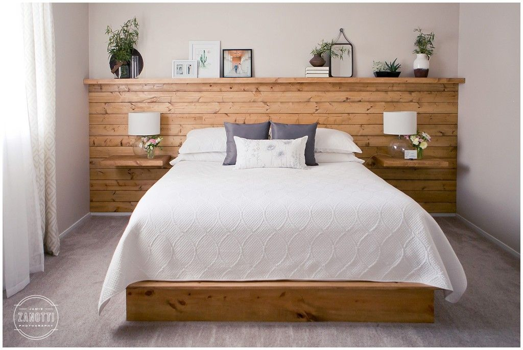 Natural Wood Shiplap Headboard Wall With Floating Nightstand