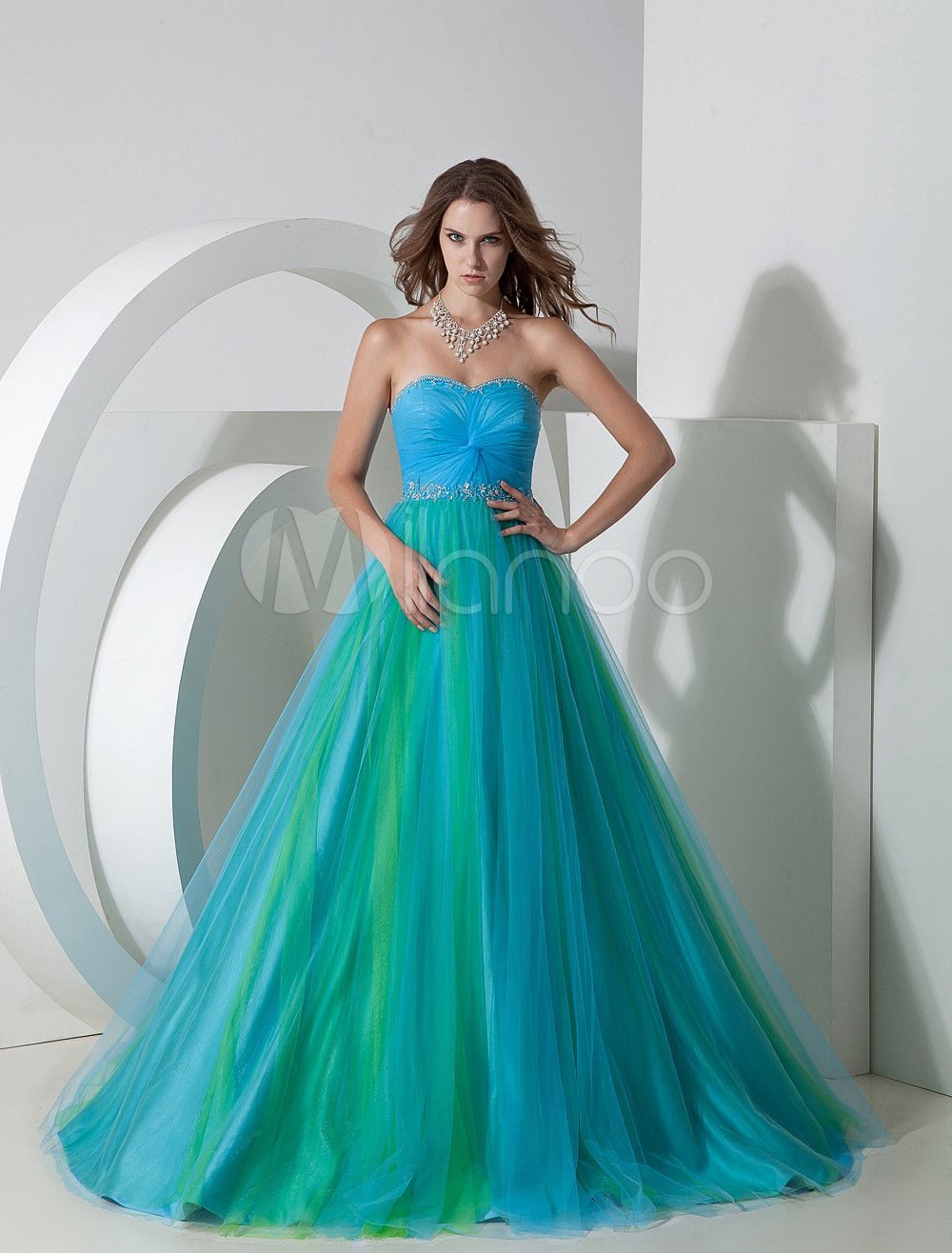 Twotone prom dress twisted ruched lace up tulle satin dress