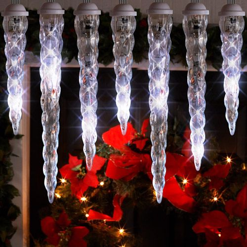 LightShow 10-Count LED Shooting Star Icicle Christmas Lights, White, 10.5 Long Icicle ...