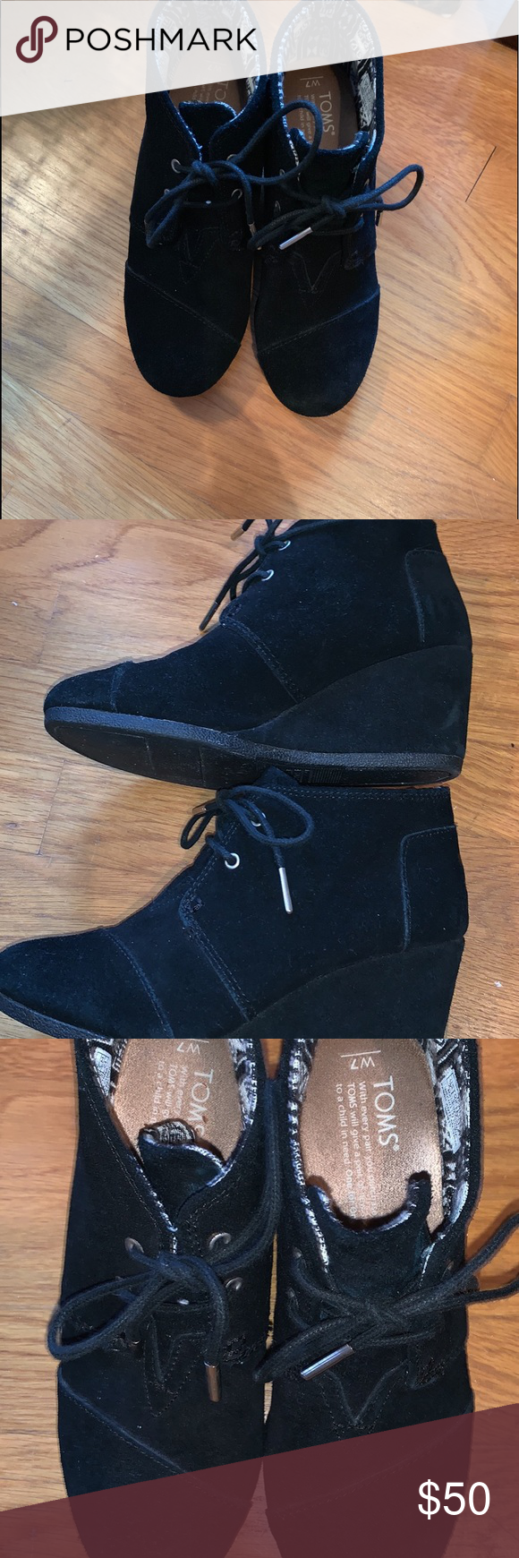 Toms Black booties Great used condition Toms booties. Hardly worn. Super cute with skinny jeans! Toms Shoes Ankle Boots & Booties #skinnyjeansandankleboots Toms Black booties Great used condition Toms booties. Hardly worn. Super cute with skinny jeans! Toms Shoes Ankle Boots & Booties #skinnyjeansandankleboots
