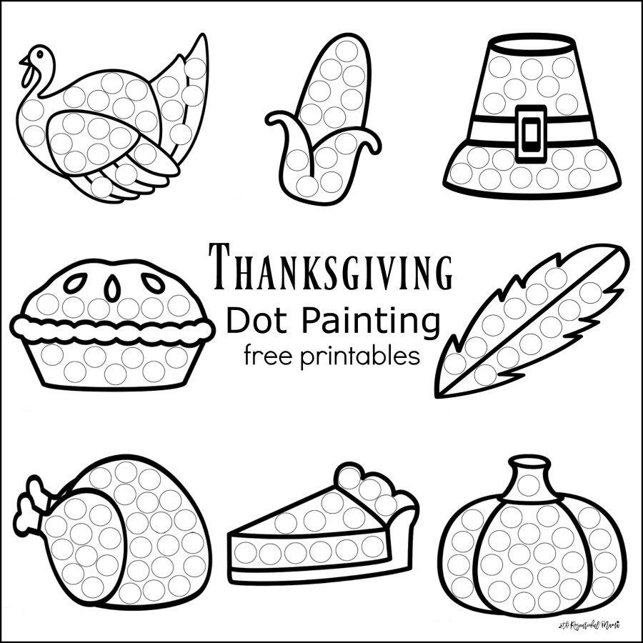 thanksgiving dot painting free printables - Painting Worksheets For Kindergarten