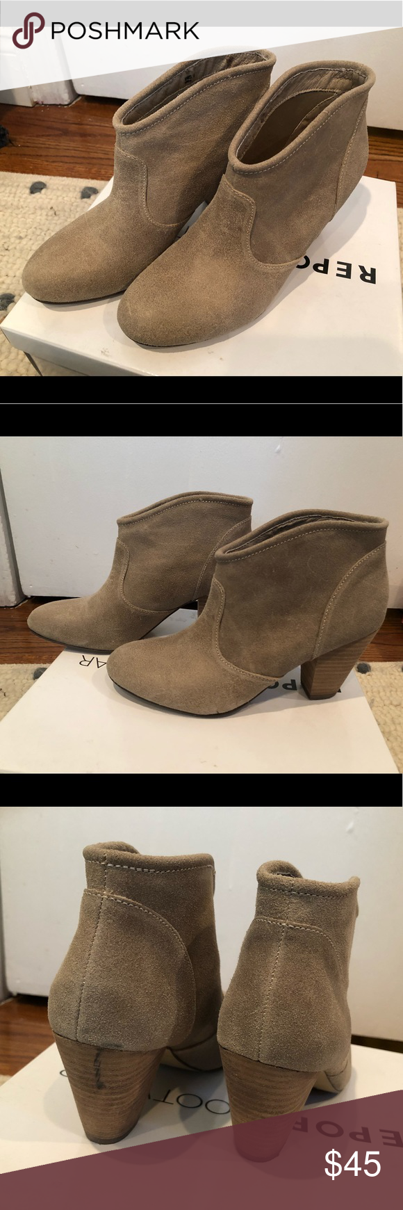 Report taupe ankle booties size 6 Report taupe ankle booties size 6. Minor black mark on back heel (see photo). Great condition other wise, worn literally twice. My loss. Purchased from Nordstrom's Report Shoes Ankle Boots & Booties