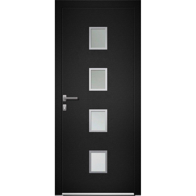Porte D Entree Alu Baltimore 2 Premium H 215 X L 90 Cm Vitree Noir Pd Avec Images Porte Entree Alu Porte D Entree Porte Aluminium