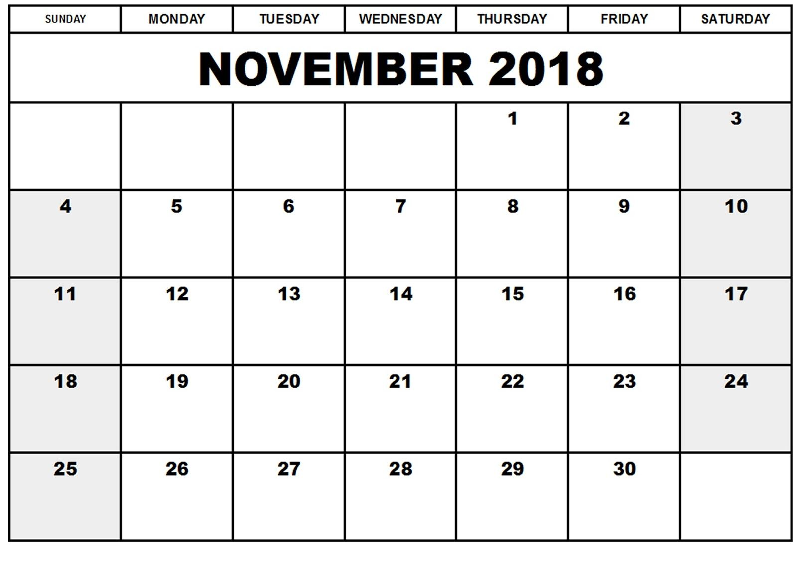 November 2018 Printable Calendar Templates Invoice Pinterest