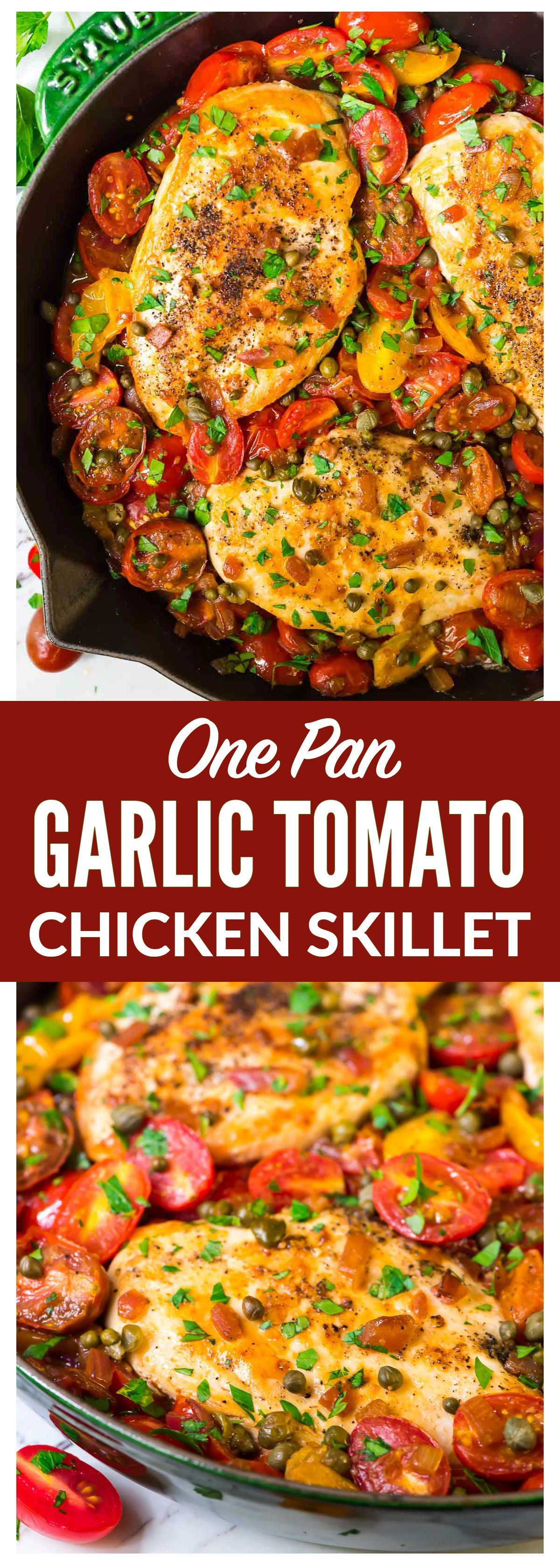 flavor-packed ONE POT skillet chicken and tomatoes dinner! Chicken breasts cooked with garlic and burst fresh tomatoes. Simple, healthy, and ready 30 minutes or less. Recipe at  | @wellplated