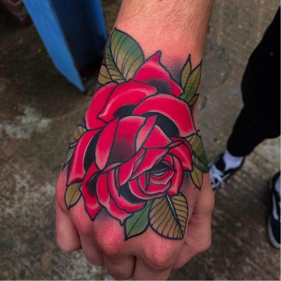 c0ba8608f Red hand rose tattoo by Matt Webb #MattWebb #rose #neotraditional #roses # hand