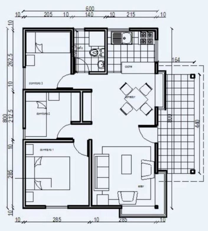 Plano de casa econ mica de 48m2 y 3 dormitorios dise o de casas pinterest planos de casas - Planos de casas prefabricadas economicas ...