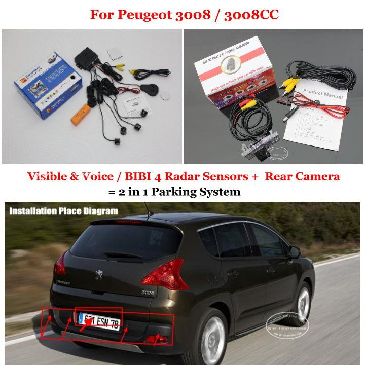 For Peugeot 3008 3008cc Car Parking Sensors Rear View Back Up Camera 2 In 1 Visual Alarm Parking System Peugeot Car Car Parking