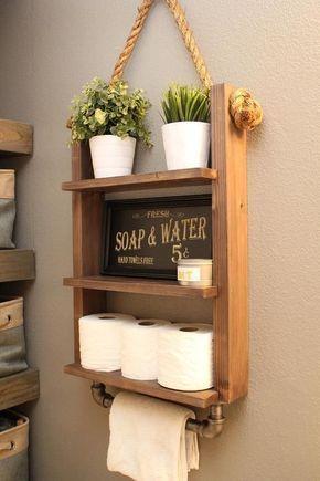 Farmhouse Bathroom Storage Shelf Decor with Industrial Towel Bar - Rustic Wood Rope - bad gestaltung -