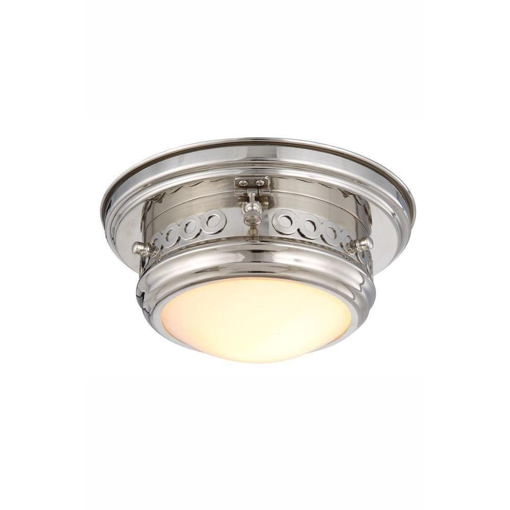 Elegant Lighting Mallory 1-Light Polished Nickel Flush Mount