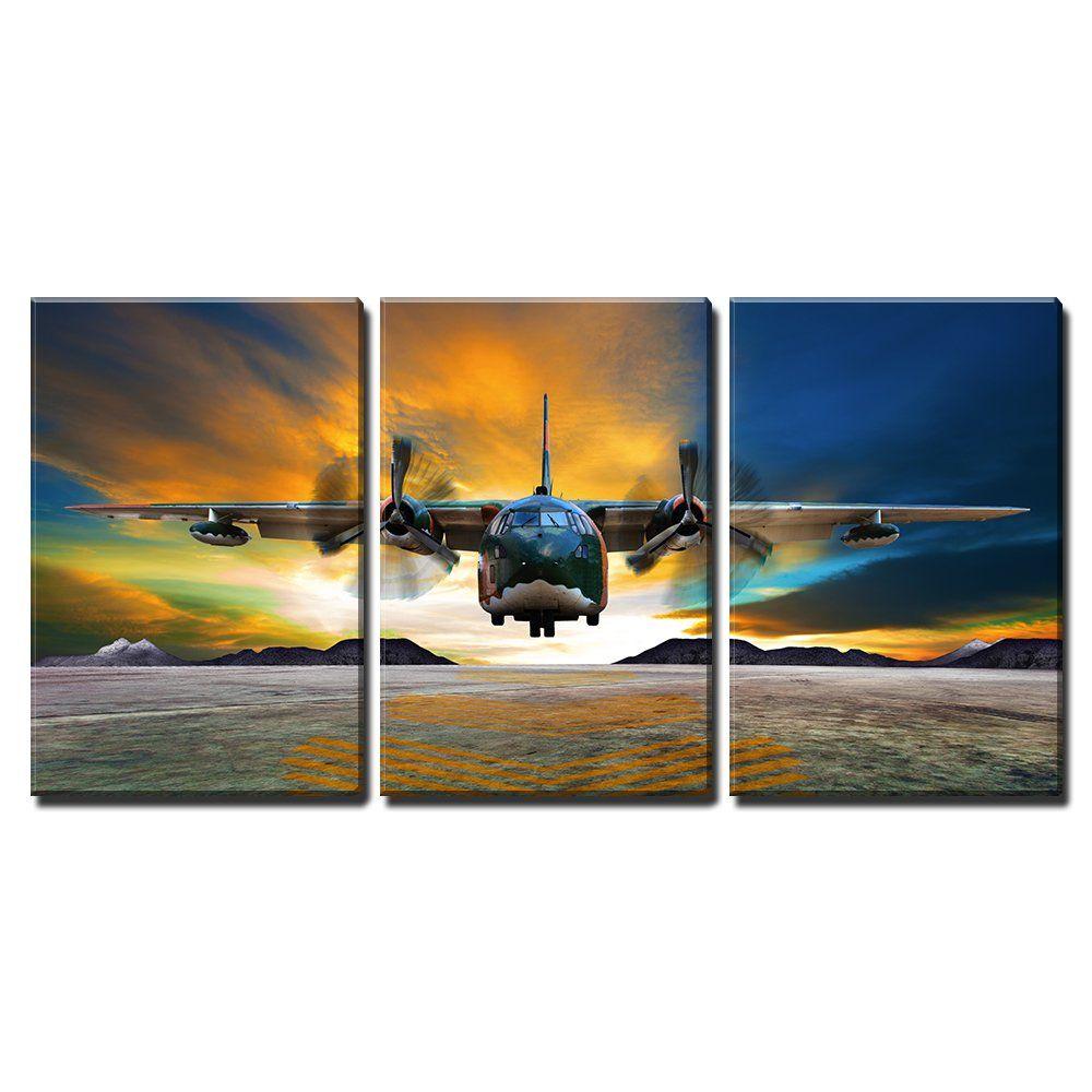 Wall26 3 Piece Canvas Wall Art Military Plane Landing On Airforce Runways Against Beautiful Dusky Sky Modern Home Decor St Canvas Wall Art Home Art Wall Art
