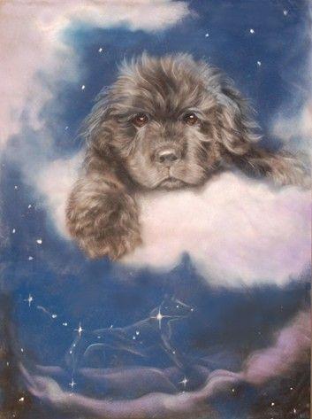 Newfoundland Puppy in Pillow Land by ArtistVanda on Etsy, $23.50