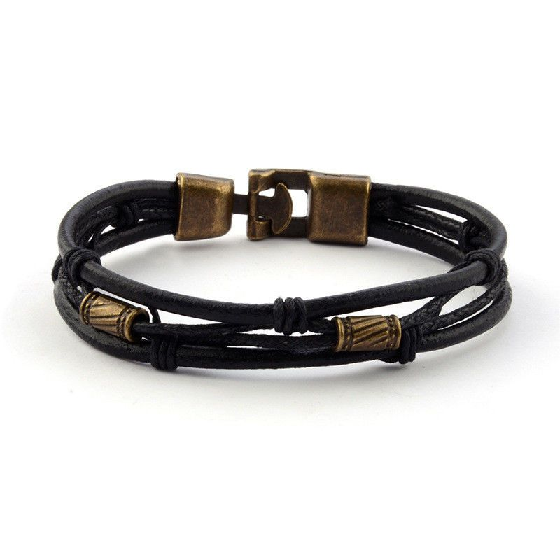 Fashion Wristband Brown New Mens Braided Leather Stainless Steel Cuff Bangle Bracelet