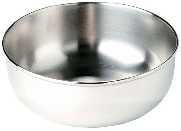 Alpine Bowl from MSR. Stainless steel. Very sturdy, fits well inside our MSR cookpot. My only issue with it is that we have two and, when nested, they are very hard to get apart. We had to keep a bandana between them.