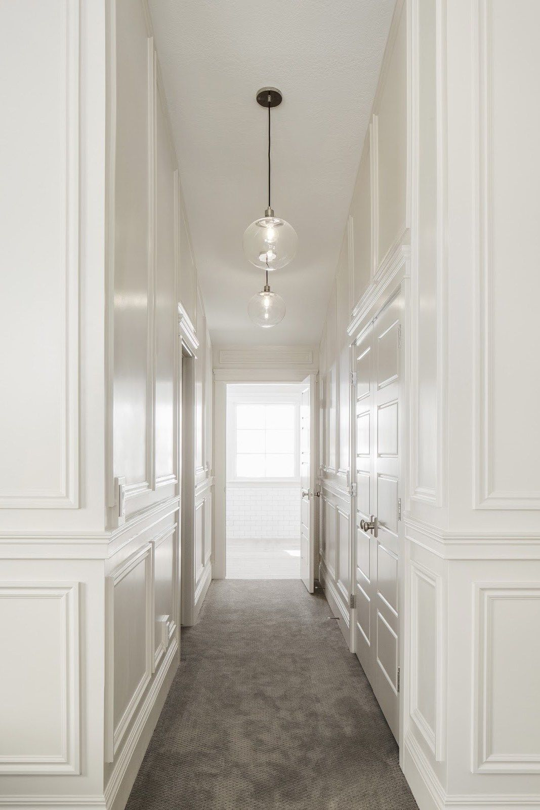 White Glossy Hallway Lacquer Shine Wainscoting Styles Moldings