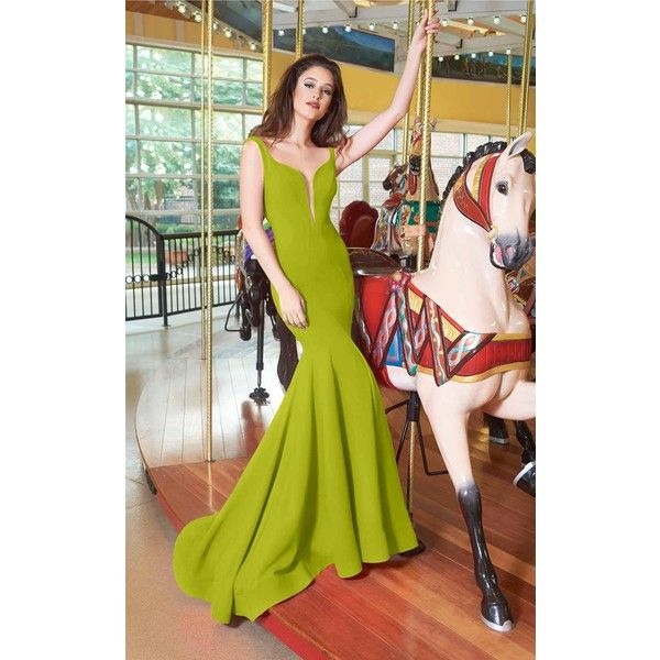 Janique W1711 Special Occasions Long V-Neck Sleeveless ($438) ❤ liked on Polyvore featuring dresses, gowns, chartreuse, formal dresses, green formal gown, mermaid evening gowns, long evening dresses, prom dresses and long formal gowns
