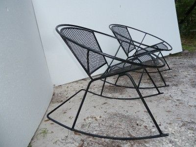 Mid Century Patio Chairs Rare Salterini Wrought Iron Mesh